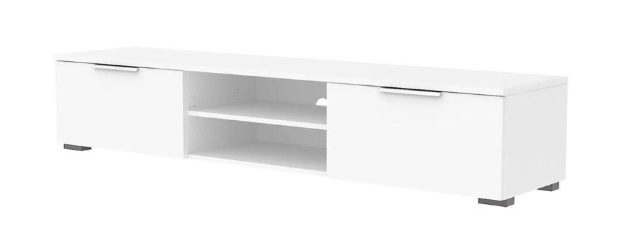 Match TV-bord - hvid højglans træ, 2 skuffer