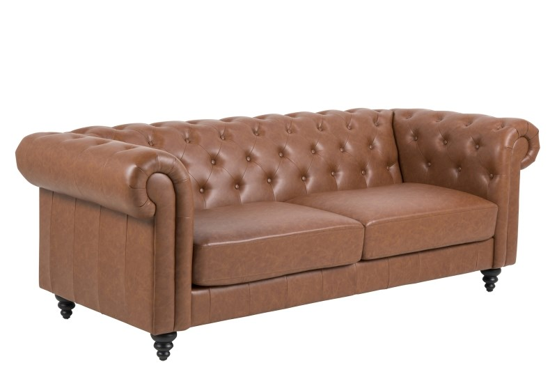 Charlietown retro sofa, 3 pers. - cognac læderlook