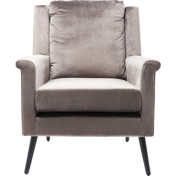 KARE DESIGN San Remo Grey lænestol - gråt stof/sort stål, m. armlæn