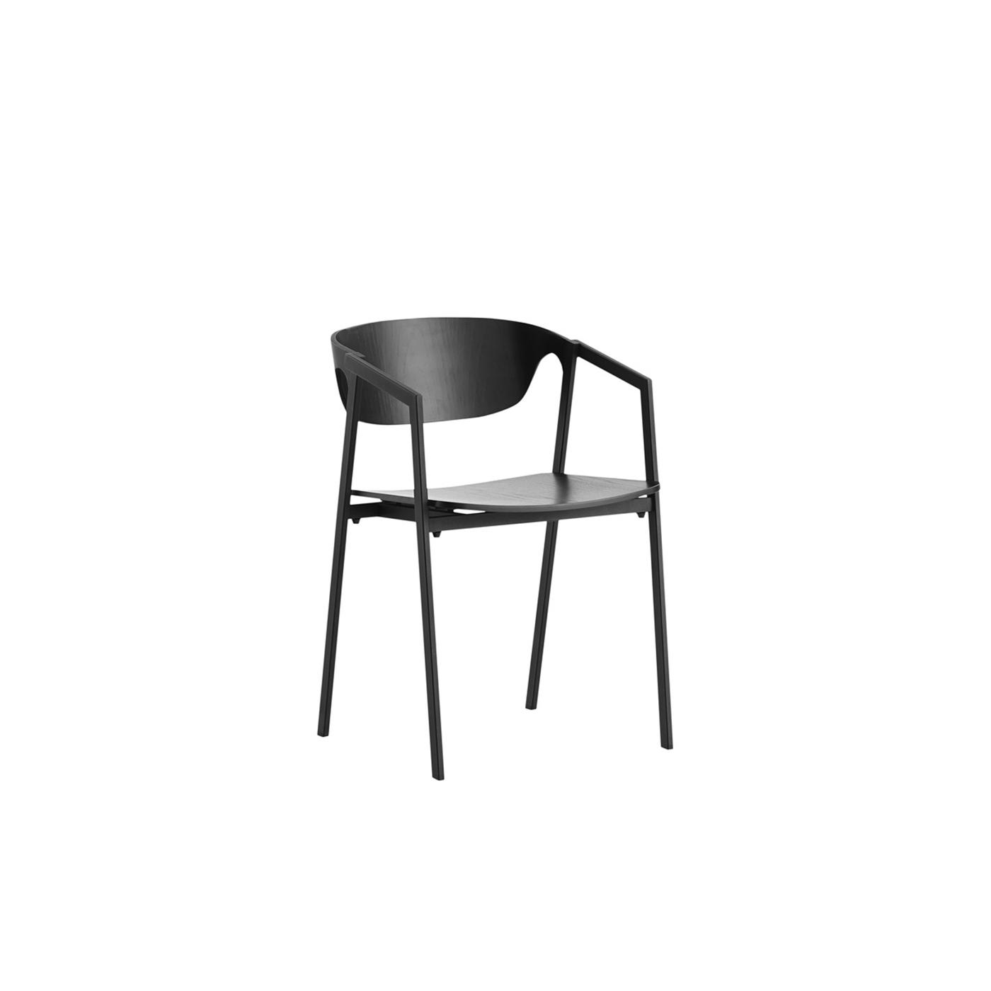 WOUD S.A.C. spisebordsstol - sort egetræsfinér/metal, m. armlæn