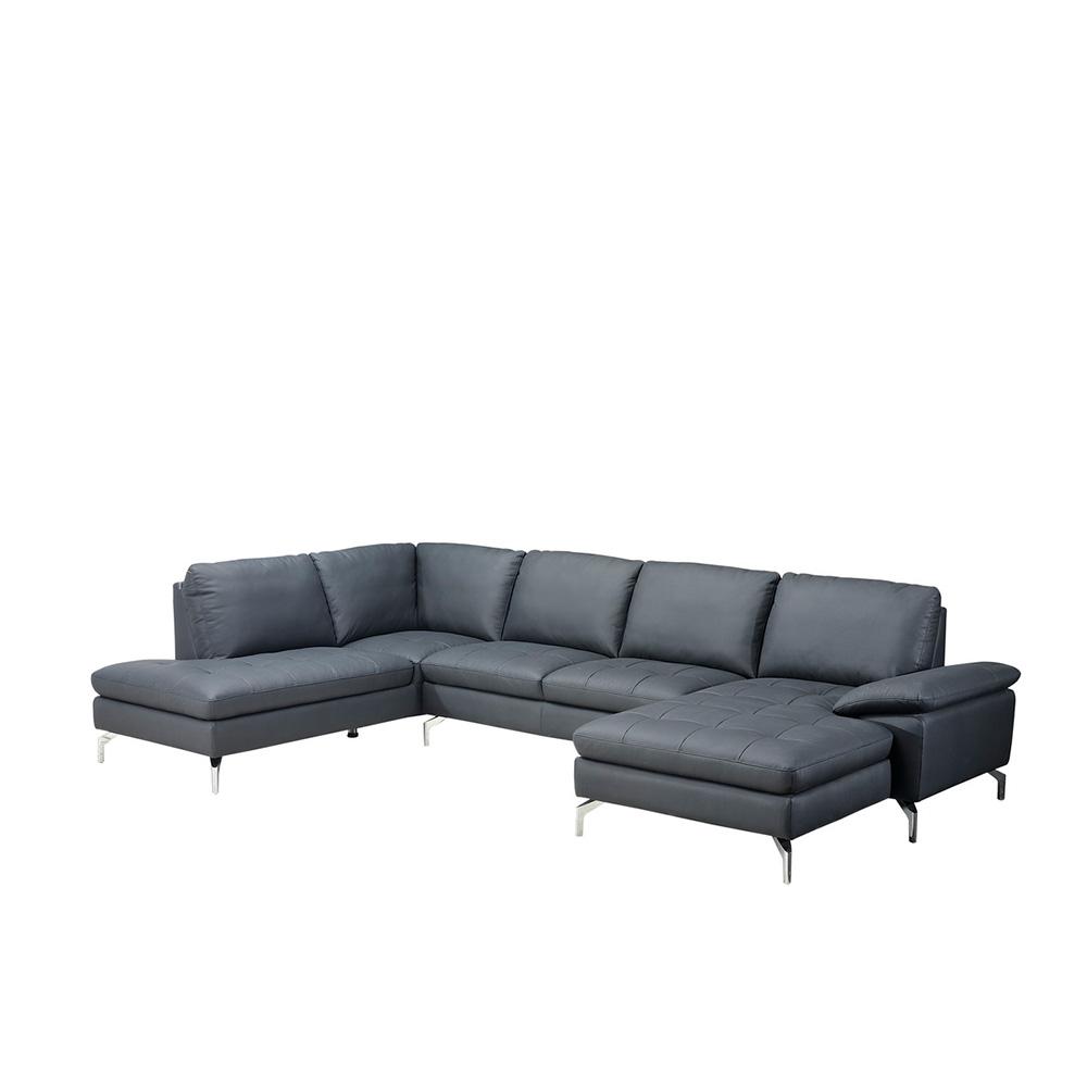 Bolette U-sofa - sort læder, m. chaiselong højre