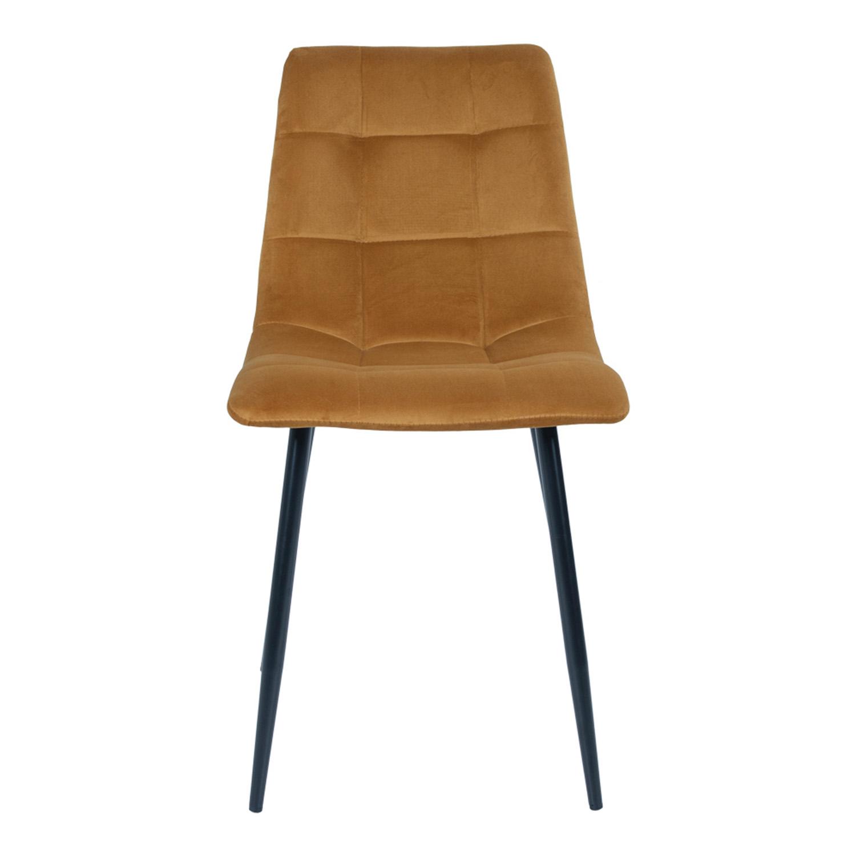 HOUSE NORDIC Middelfart spisebordsstol - gul polyester og stål