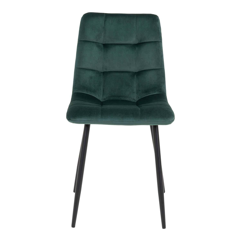 HOUSE NORDIC Middelfart spisebordsstol - mørkegrøn velour og sort stål