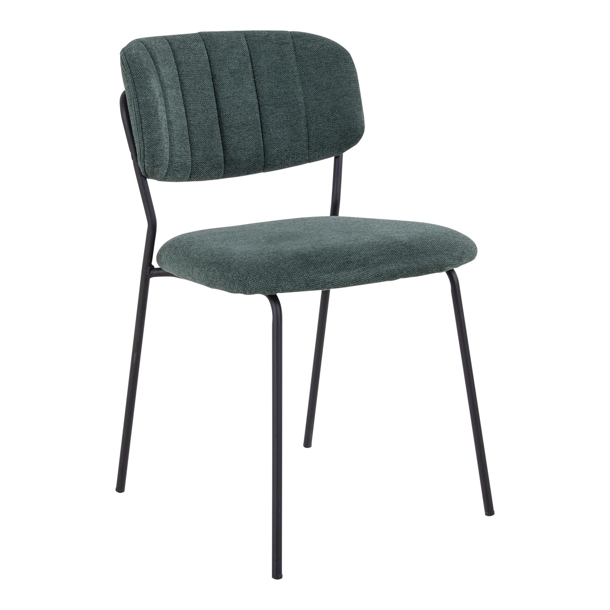 HOUSE NORDIC Alicante spisebordsstol - mørkegrøn stof og sort metal