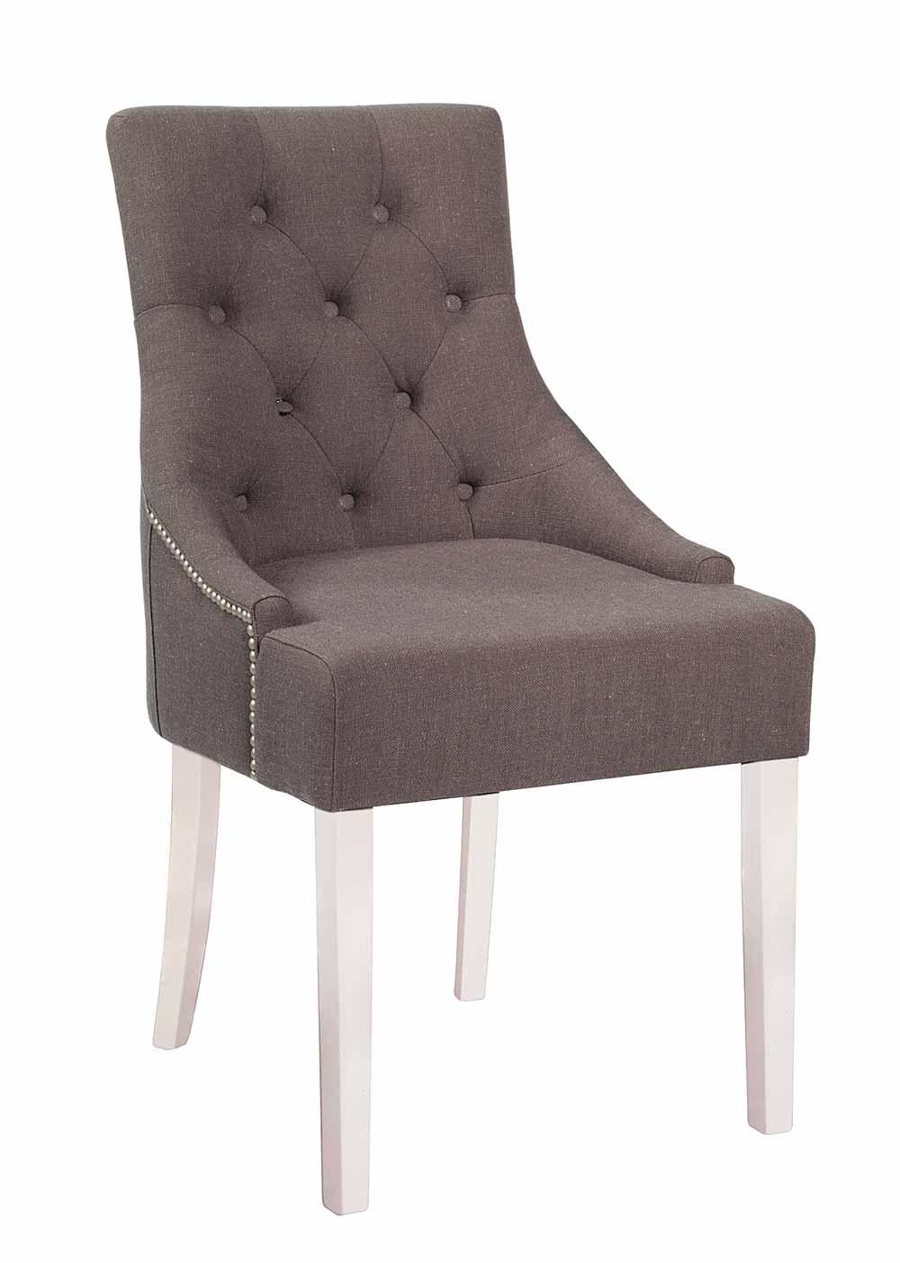 Stella spisebordsstol - Gråt/brunt stof, m. hvide ben