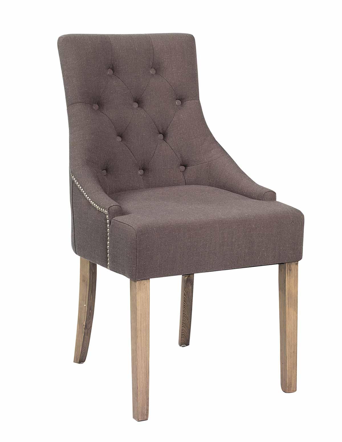 Stella spisebordsstol - Gråt stof, m. hvide ben