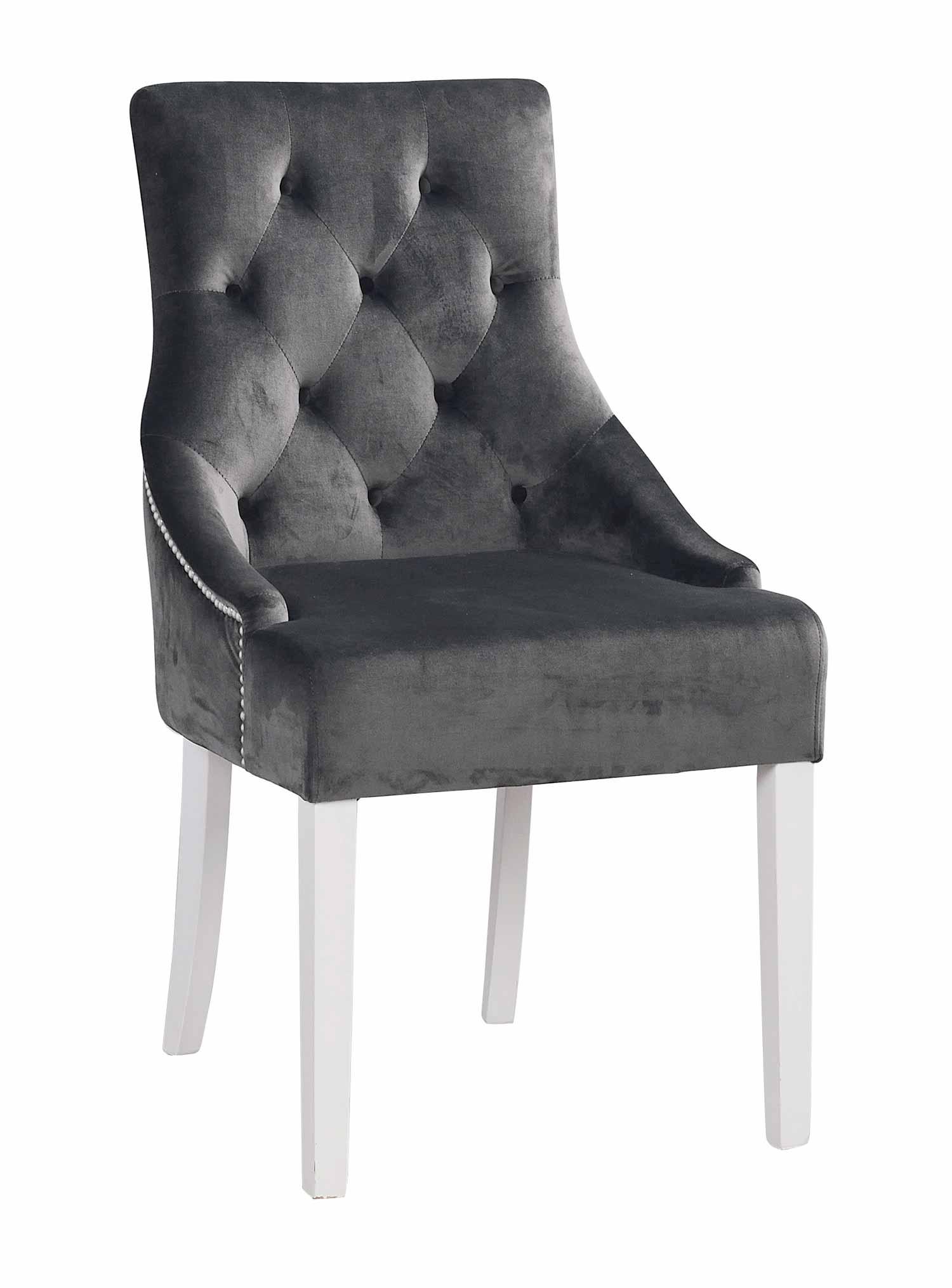 Stella spisebordsstol - gråt stof/ hvidt lærketræ