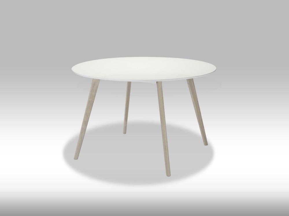 Life spisebord - mat hvid træ m. egetræsben, rundt (Ø:120) thumbnail