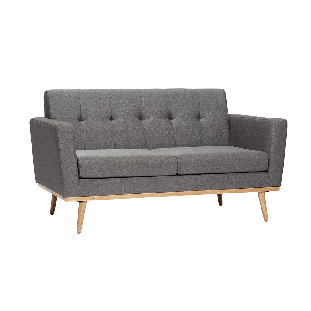H?bsch mørkegrå stof sofa med egetræsben fra hübsch på boboonline.dk