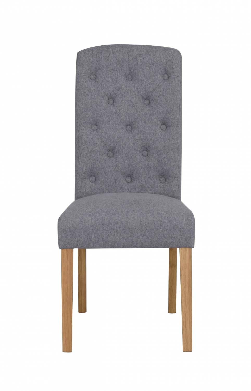 Indra spisebordsstol - lysegråt stof/egetræsben