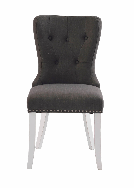 Image of   Adele spisebordsstol - gråt stof m. hvidlakerede træben, sølvnitter