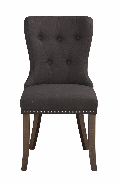 Image of   Adele spisebordsstol - gråt stof m. træben, sølvnitter