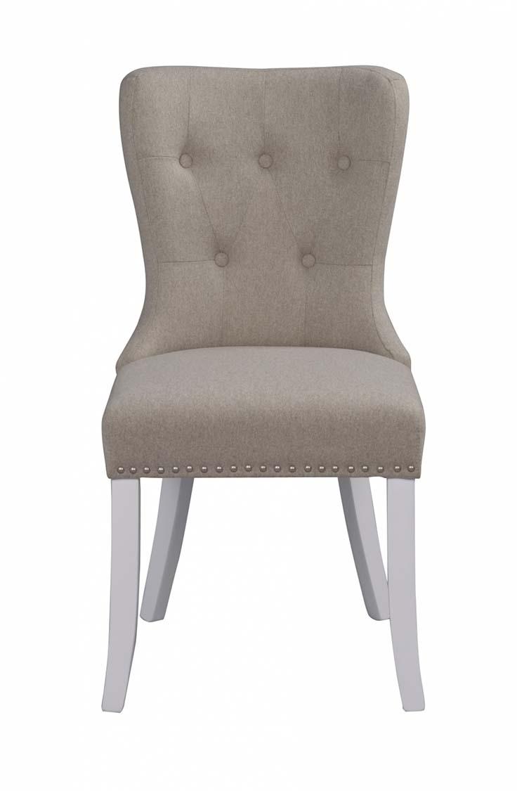 Image of   Adele spisebordsstol - beige stof m. hvide træben, sølvnitter