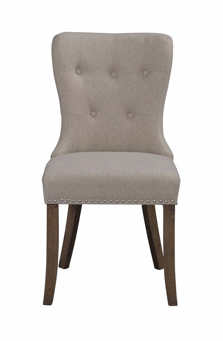 Image of   Adele spisebordsstol - beige stof m. træben, sølvnitter