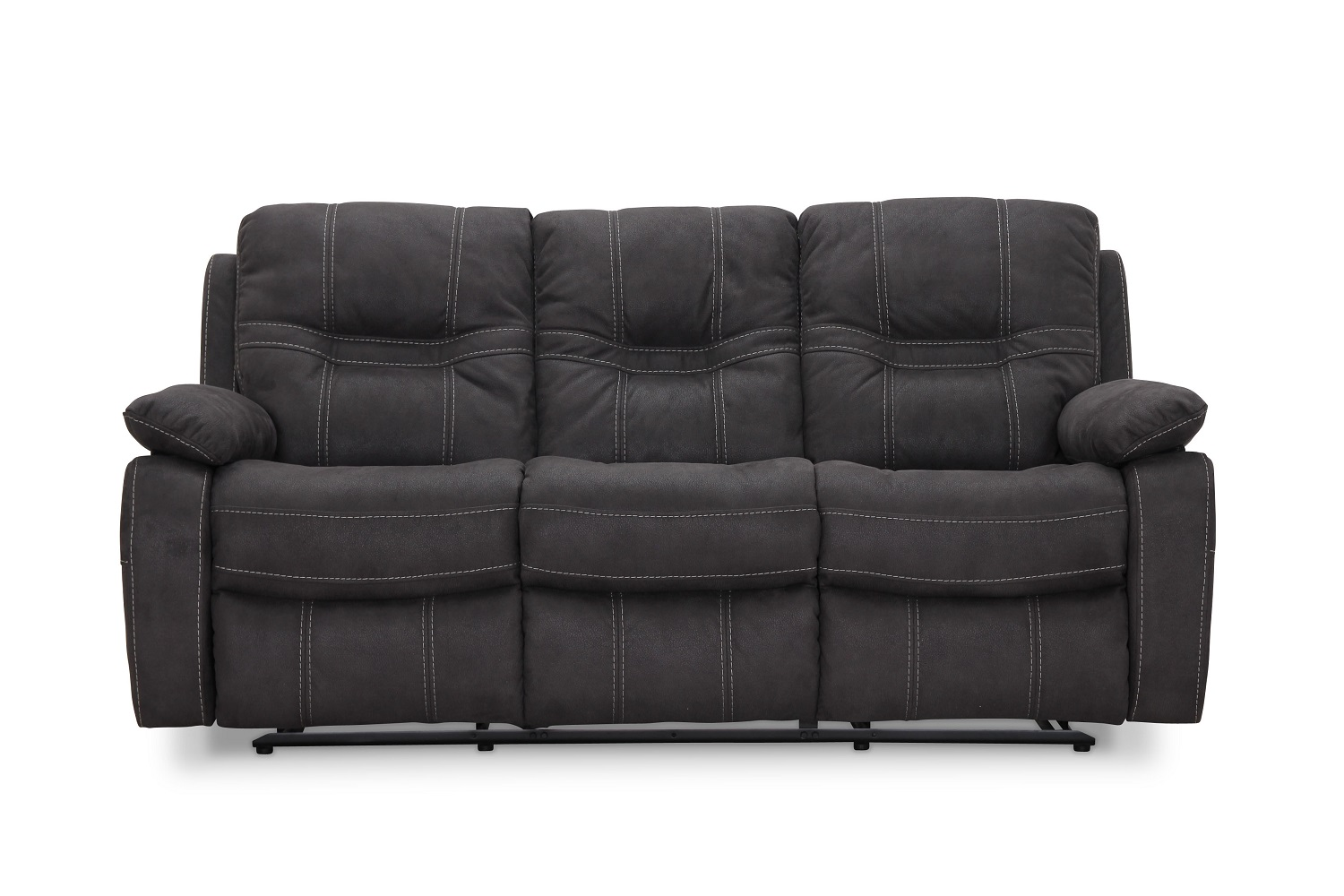 Image of   HAGA Detroit 3 pers. sofa - grå ruskindslook, m. recliner funktion
