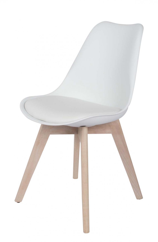 Preform mia spisebordsstol - hvidt kunstlæder og hvidolieret eg