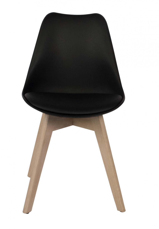 Preform mia spisebordsstol - sort kunstlæder og hvidolieret eg