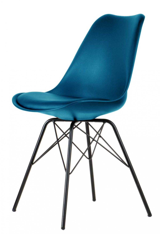 Preform comfort spisebordsstol - petrol blå plastik og sorte metalben