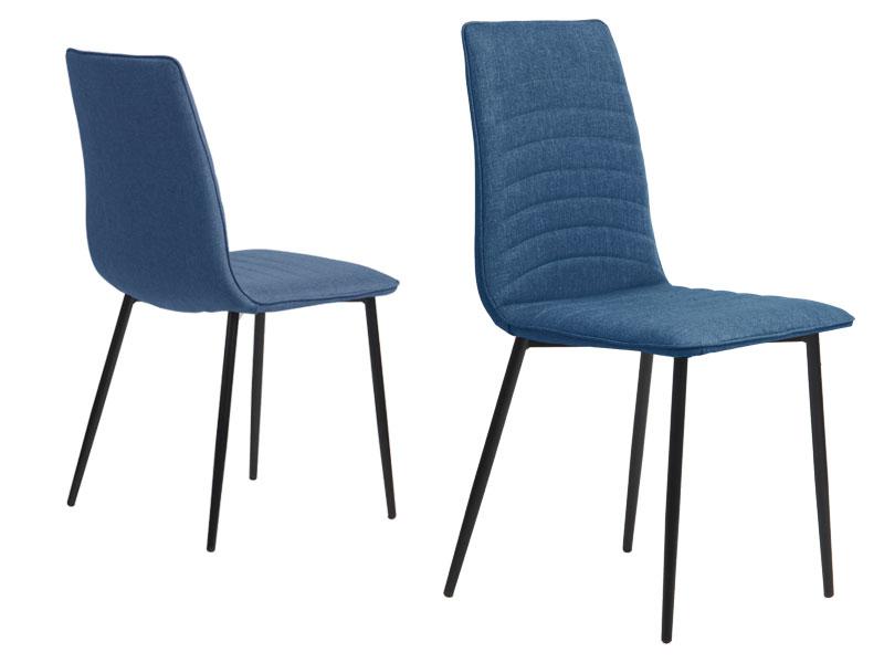 Preform lisa spisebordsstol - blå stof m. stål stel
