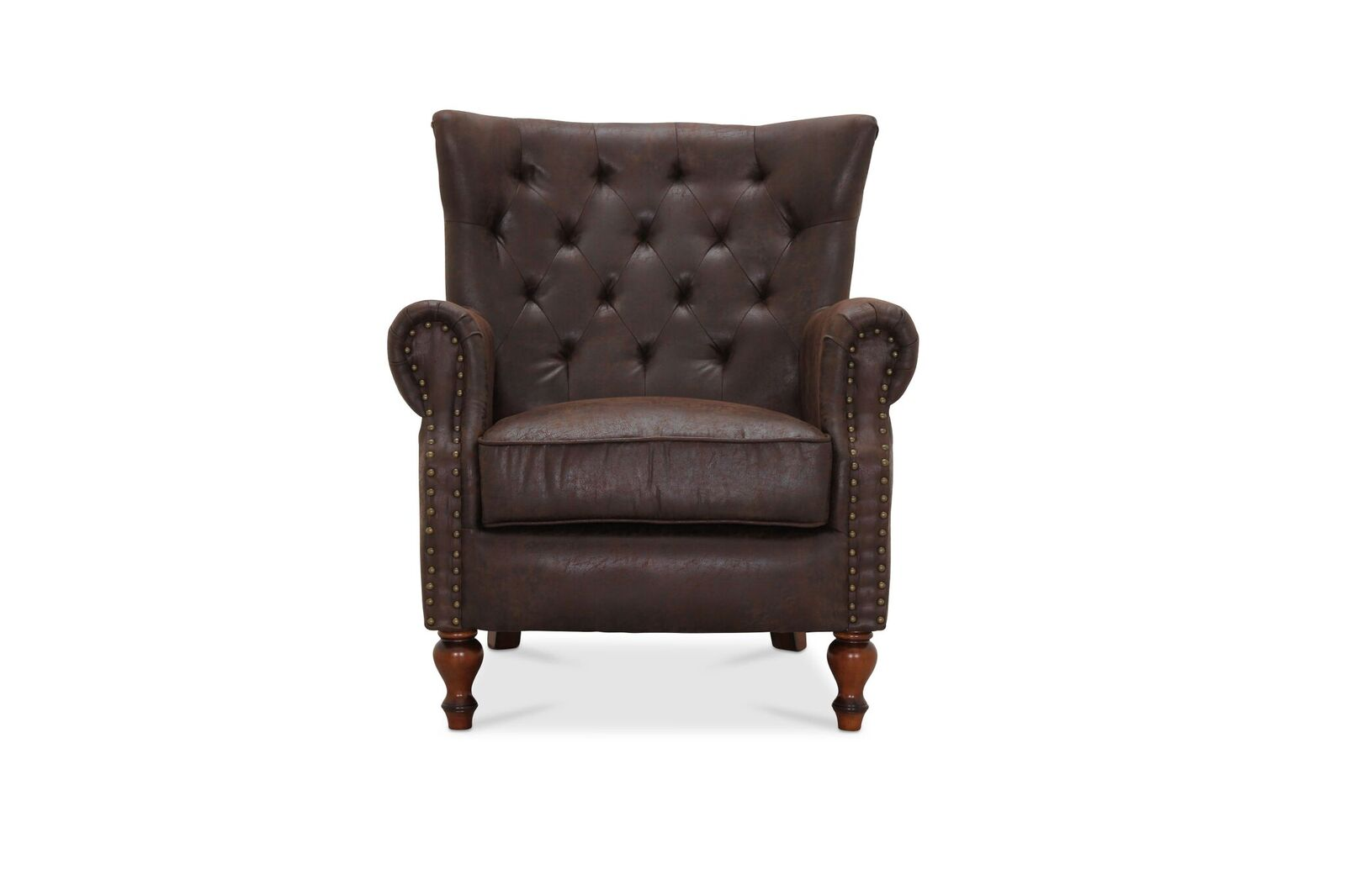 Image of   HAGA London chesterfield lænestol - brun læder PU