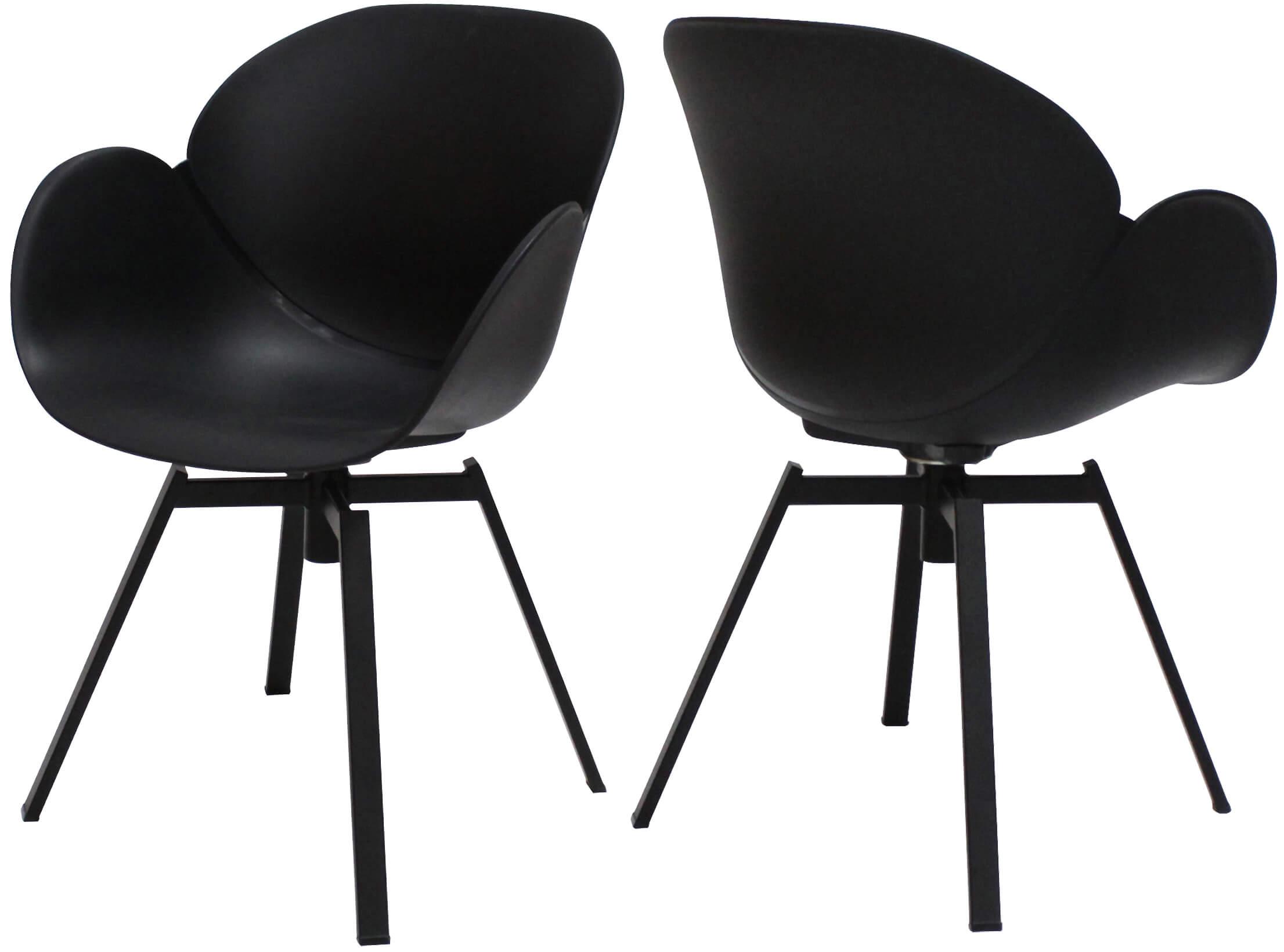 canett Canett oliver spisebordsstol - sort plast og stål, m. armlæn, m. drejefod fra boboonline.dk