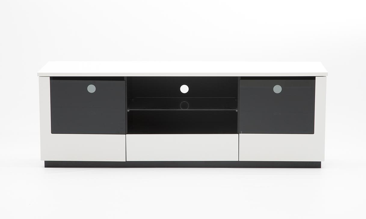 rge Rge etage tv-bord - sort/grå/hvid mdf træ m. glaslåger, uden hjul, 2 låger og 1 skuffe, (55x160cm) på boboonline.dk
