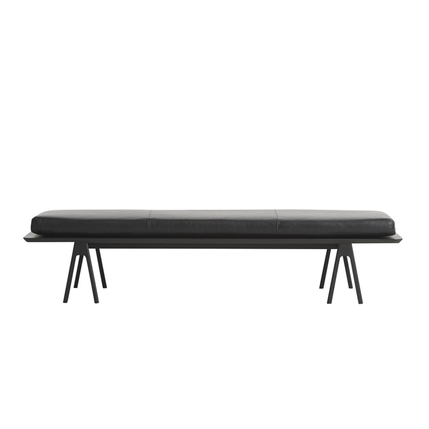 WOUD Level daybed - sort læder/træ, rektangulær (190x76,5)