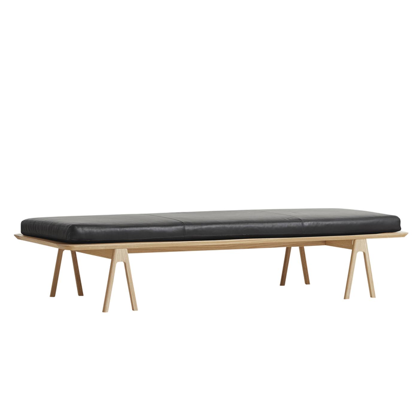 WOUD Level daybed - natur/sort egetræ/læder, rektangulær (190x76,5)