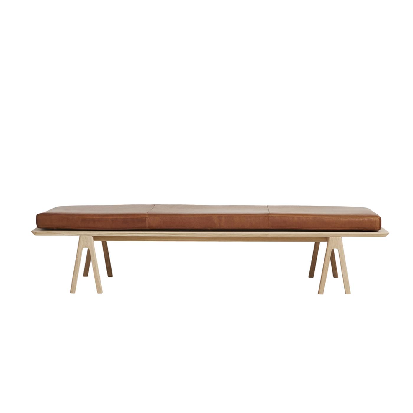 WOUD Level daybed - nougat/natur læder/egetræ, rektangulær (190x76,5)