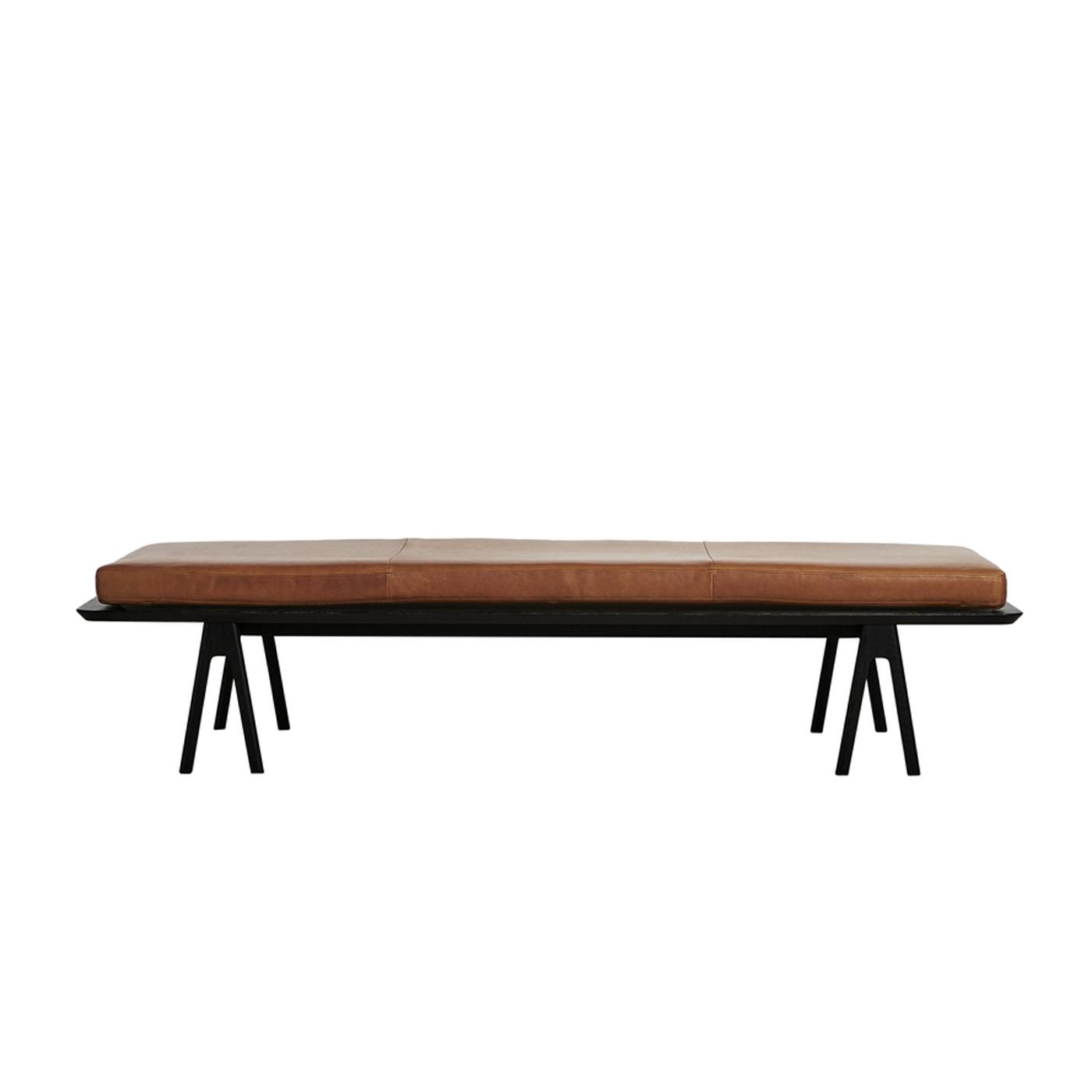 WOUD Level daybed - nougat/sort læder/træ, rektangulær (190x76,5)