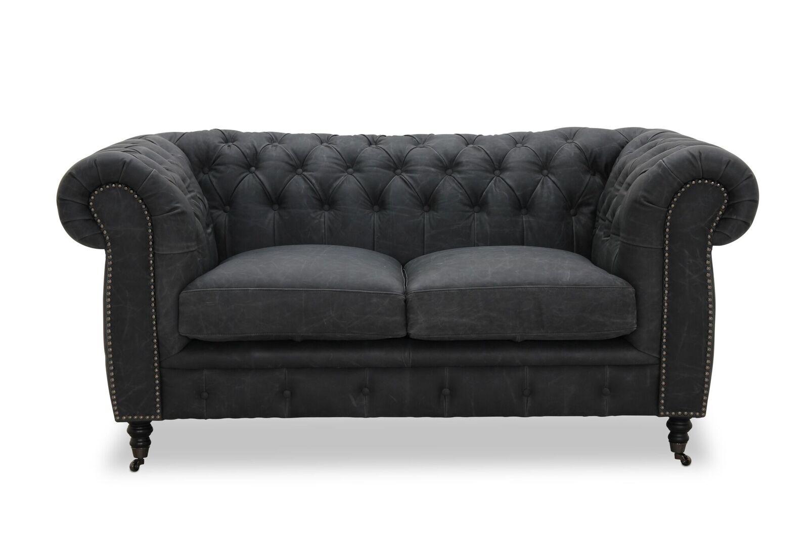 Haga cambridge 2 pers. sofa - sort læder fra haga gruppen fra boboonline.dk