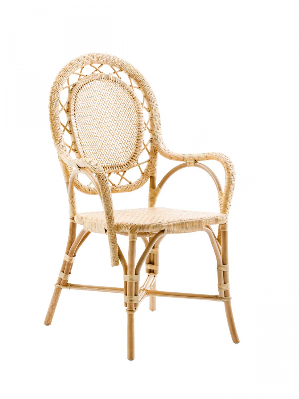 SIKA DESIGN Romantica spisebordsstol - natur rattan, m. armlæn