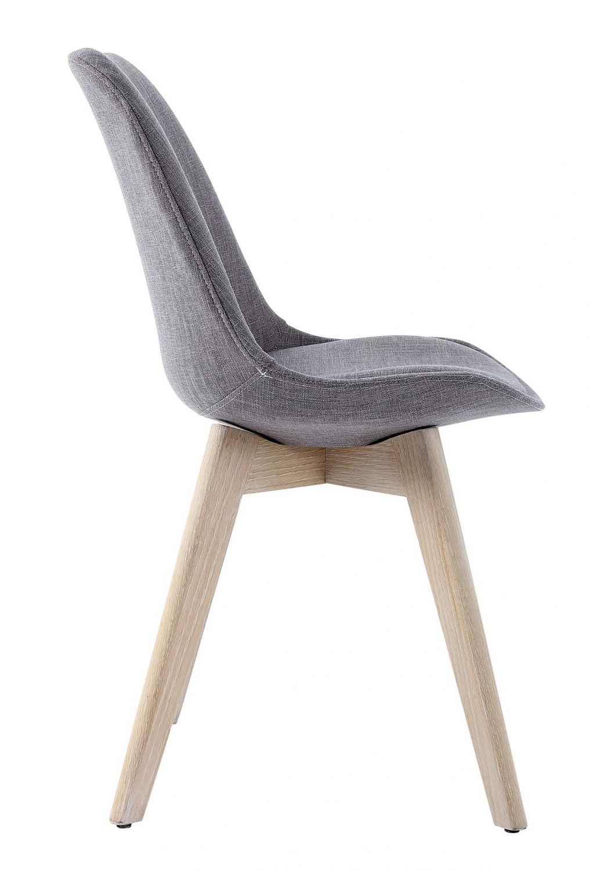 Preform rosa spisebordsstol - gråt stof og hvidolieret eg
