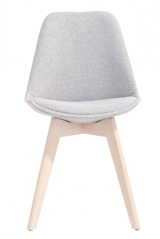 Preform rosa spisebordsstol - lysegråt stof og hvidolieret eg