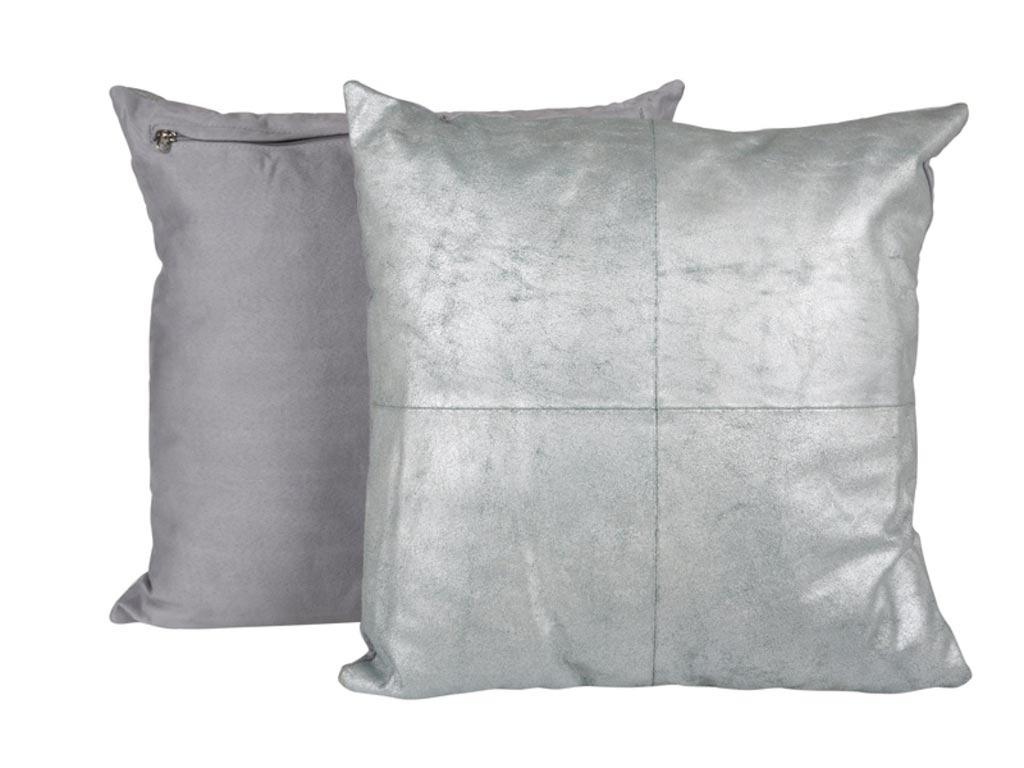 Billede af CANETT Aya pude - lysegrøn/sølv, læder/stof