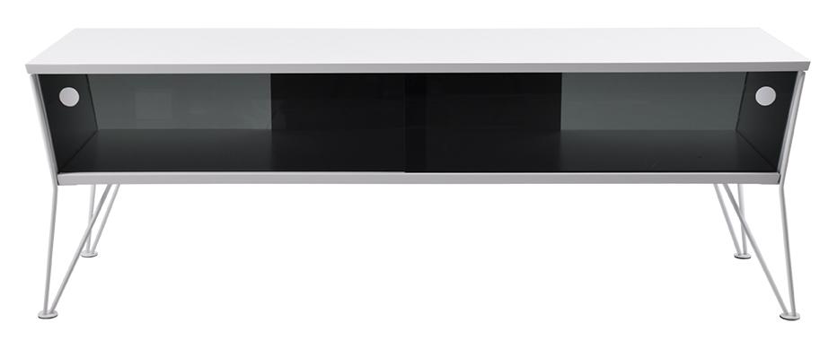 Billede af Ester TV-bord med skydelåger i glas - hvid