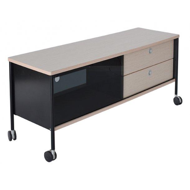 Alessi TV-bord med hjul, sort, natur - Tv-borde - BOBO