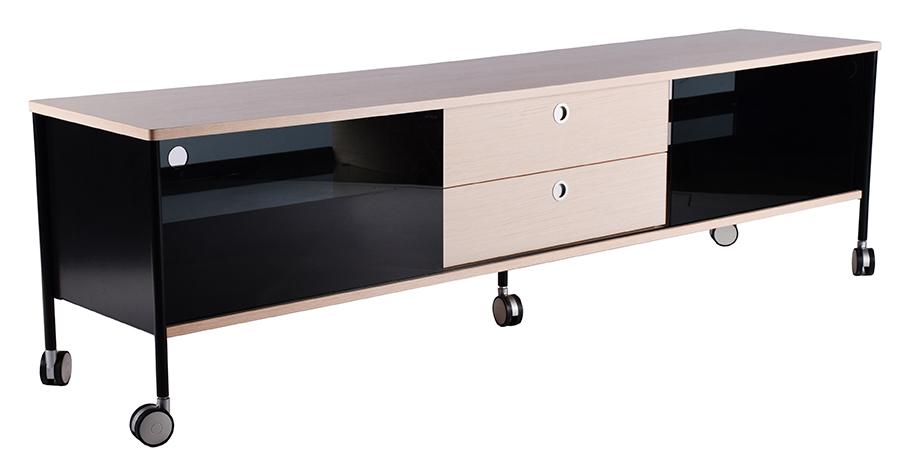 Image of   Alessi bred TV-bord med hjul, hvid, natur