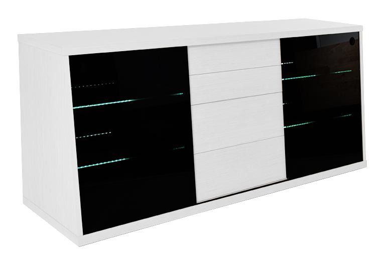 Billede af Flow TV-bord i hvid med glashylder