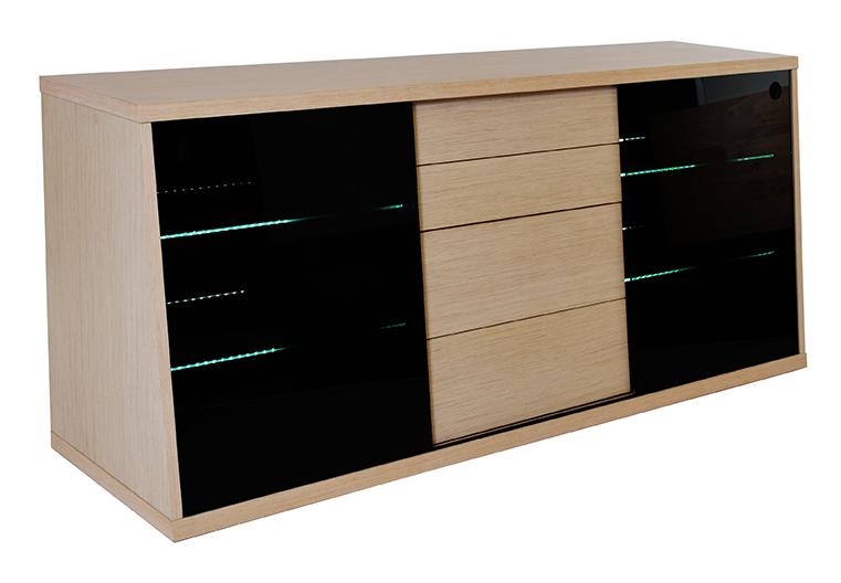 rge Rge flow tv-bord - naturfarvet mdf træ, m. eg og glashylder, uden hjul, (65x150cm) fra boboonline.dk