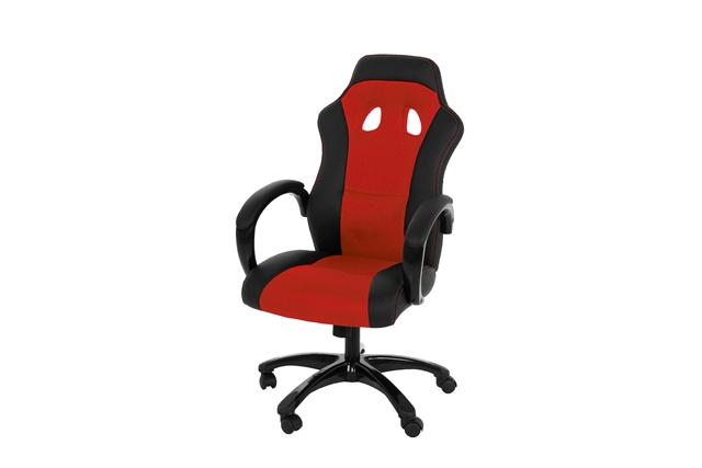 Image of   Race kontorstol - Rødt/sort læder PU og stof