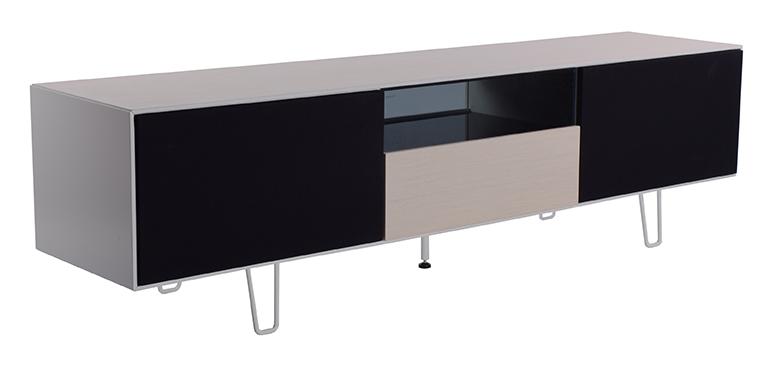 Billede af Leon TV-bord i eg - med sorte låger og glashylder
