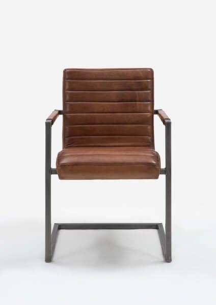 Sabina spisebordsstol med armlæn, ægte læder fra bodahl på boboonline.dk