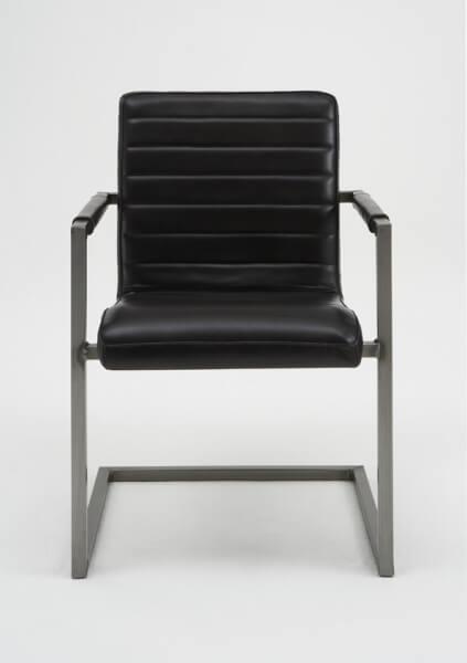 BODAHL Sabina spisebordsstol - sort ægte læder, m. armlæn
