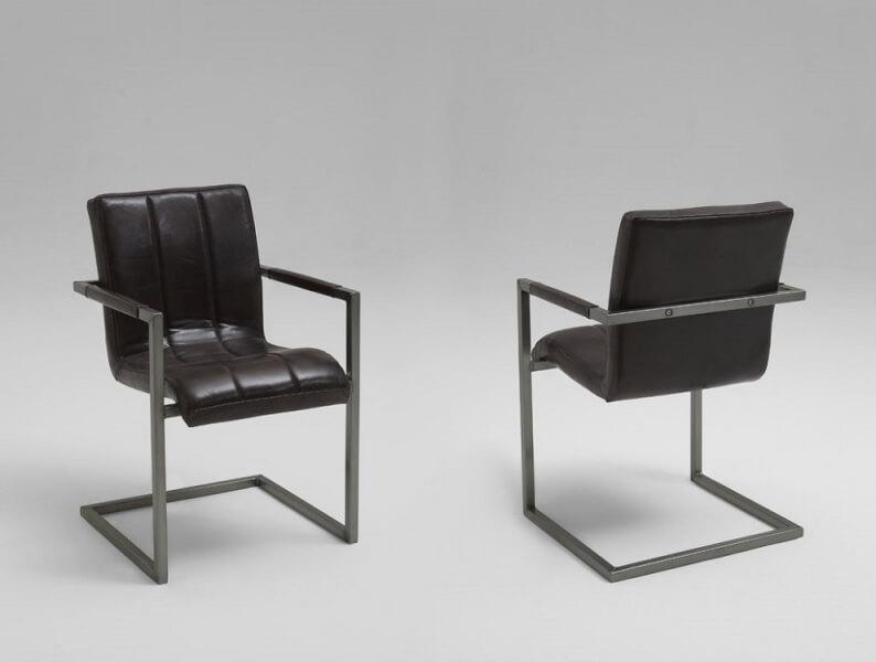 bodahl Bodahl sabina spisebordsstol - læder/stof, m. armlæn børstet 119 - matt gun metal på boboonline.dk