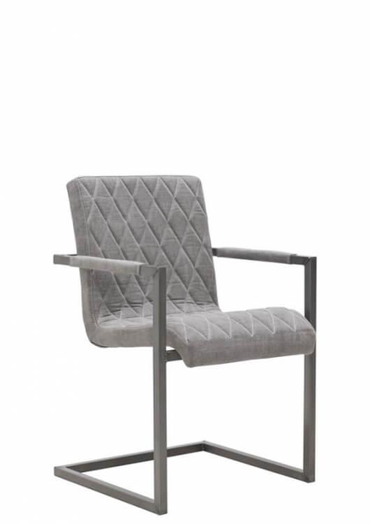 bodahl – Bodahl sabina spisebordsstol - læder/stof, m. armlæn børstet 60 - kiss light grey fra boboonline.dk