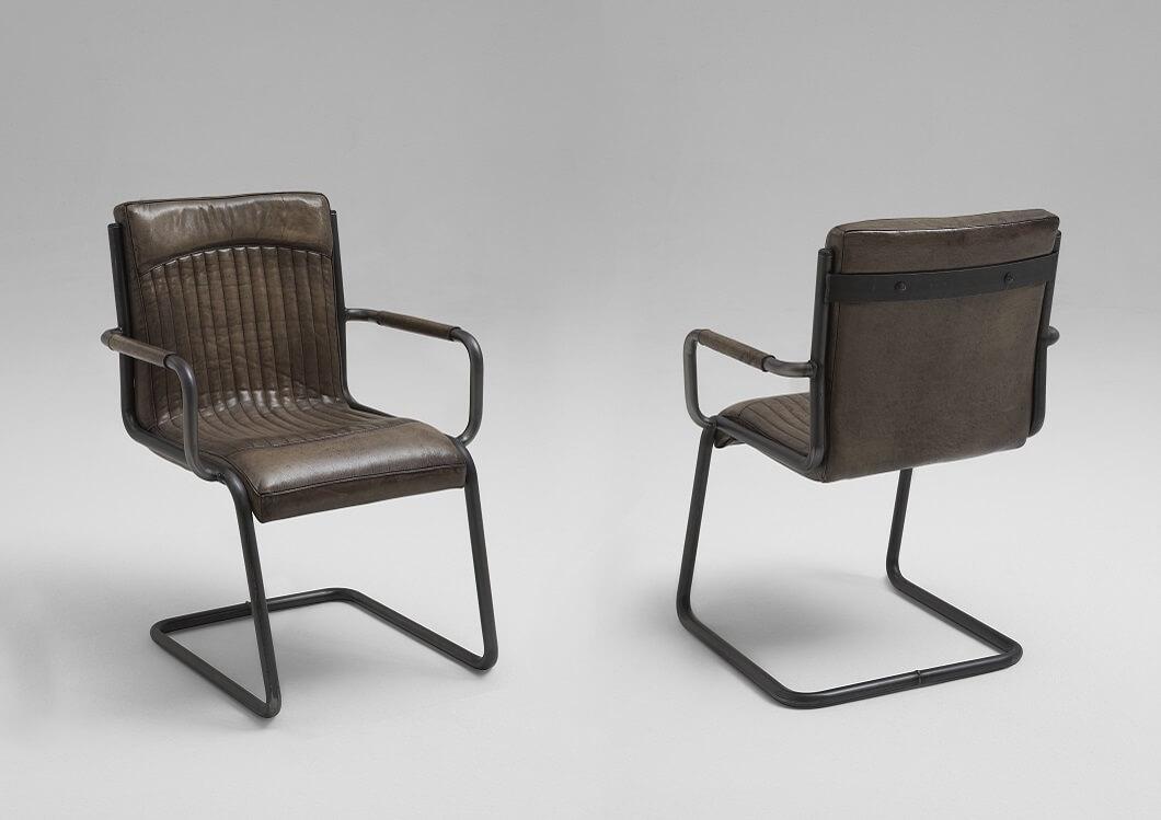 Bodahl franco spisebordsstol - bøffellæder, m. armlæn 119 - matt gun metal fra bodahl fra boboonline.dk