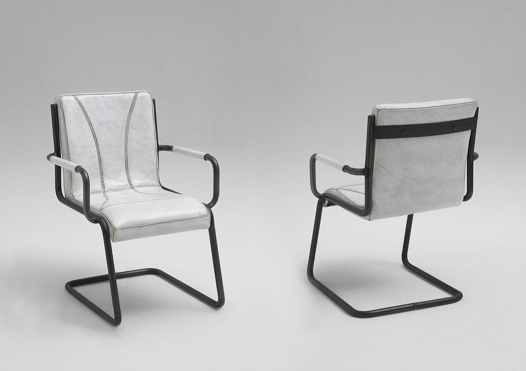 Bodahl franco spisebordsstol - bøffellæder, m. armlæn 120 - matt white antique fra bodahl fra boboonline.dk