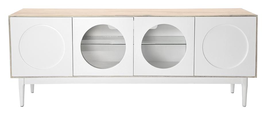 Billede af Olive TV-bord - hvid/eg med gennemsigtige låger og glashylder