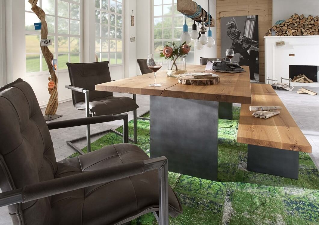 BODAHL Woodstock plankebord - 2-delt bordplade, m. udtræk 240 x 100 cm T-ben